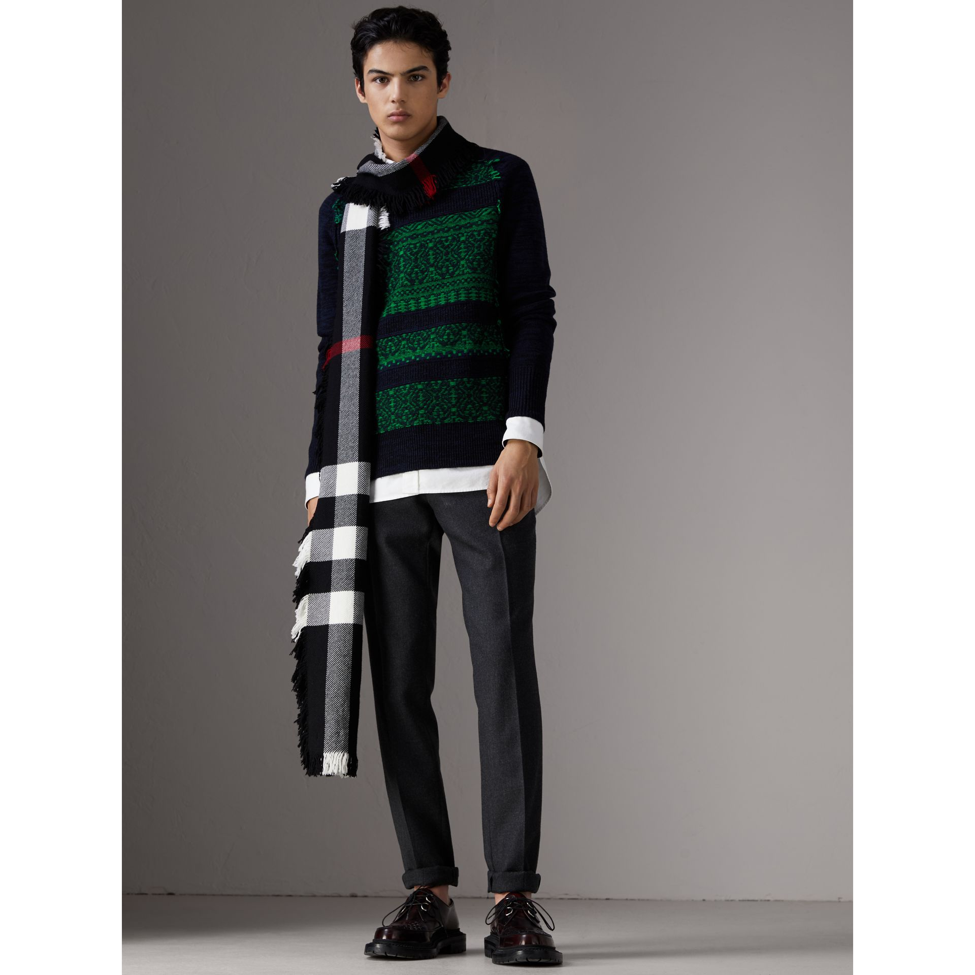 Fair Isle Detail Wool Cashmere Sweater in Bright Green - Men | Burberry - gallery image 3