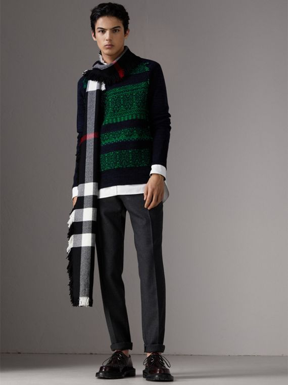 Fair Isle Detail Wool Cashmere Sweater in Bright Green - Men | Burberry United States - cell image 3