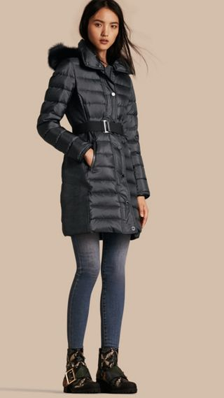 Down-filled Coat with Fur-trimmed Hood