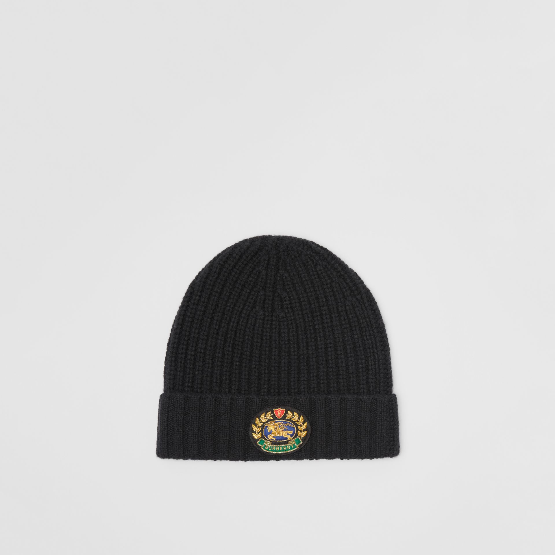 Embroidered Crest Rib Knit Wool Cashmere Beanie in Black | Burberry Singapore - gallery image 0