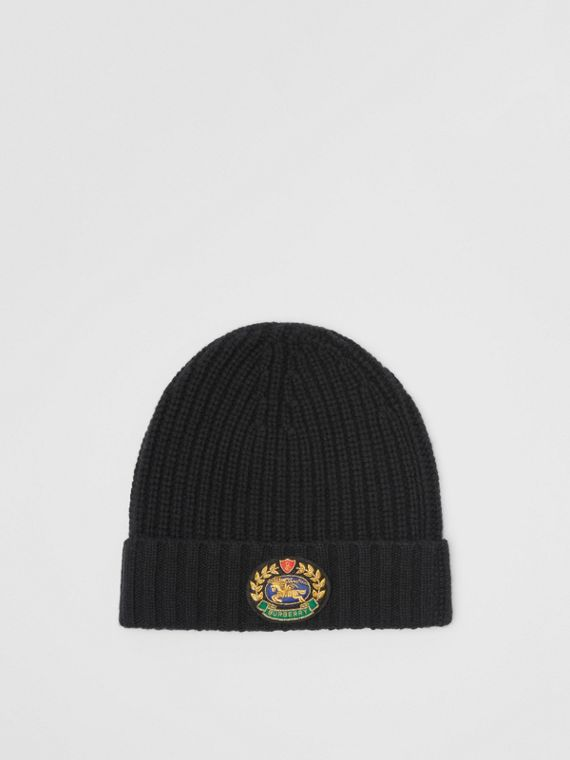 102441d2d130c Embroidered Crest Rib Knit Wool Cashmere Beanie in Black