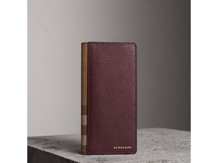 House Check and Grainy Leather Continental Wallet in Wine | Burberry - cell image 1