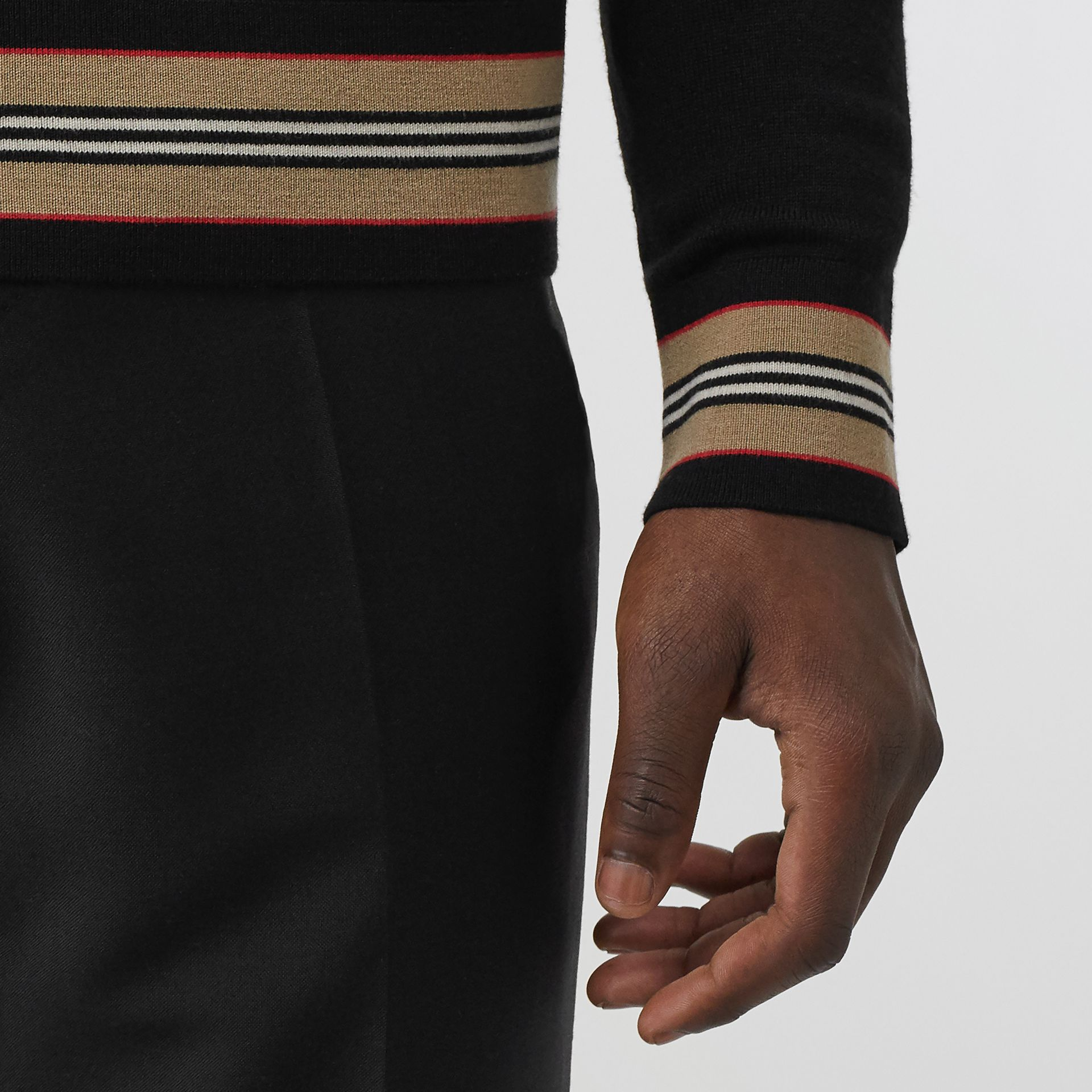 Icon Stripe Detail Merino Wool Sweater in Black - Men | Burberry - gallery image 1