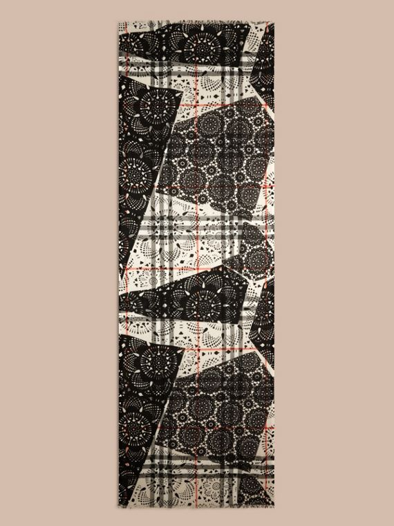 Stone/black Patchwork Lace Print Check Wool Silk Scarf - cell image 3