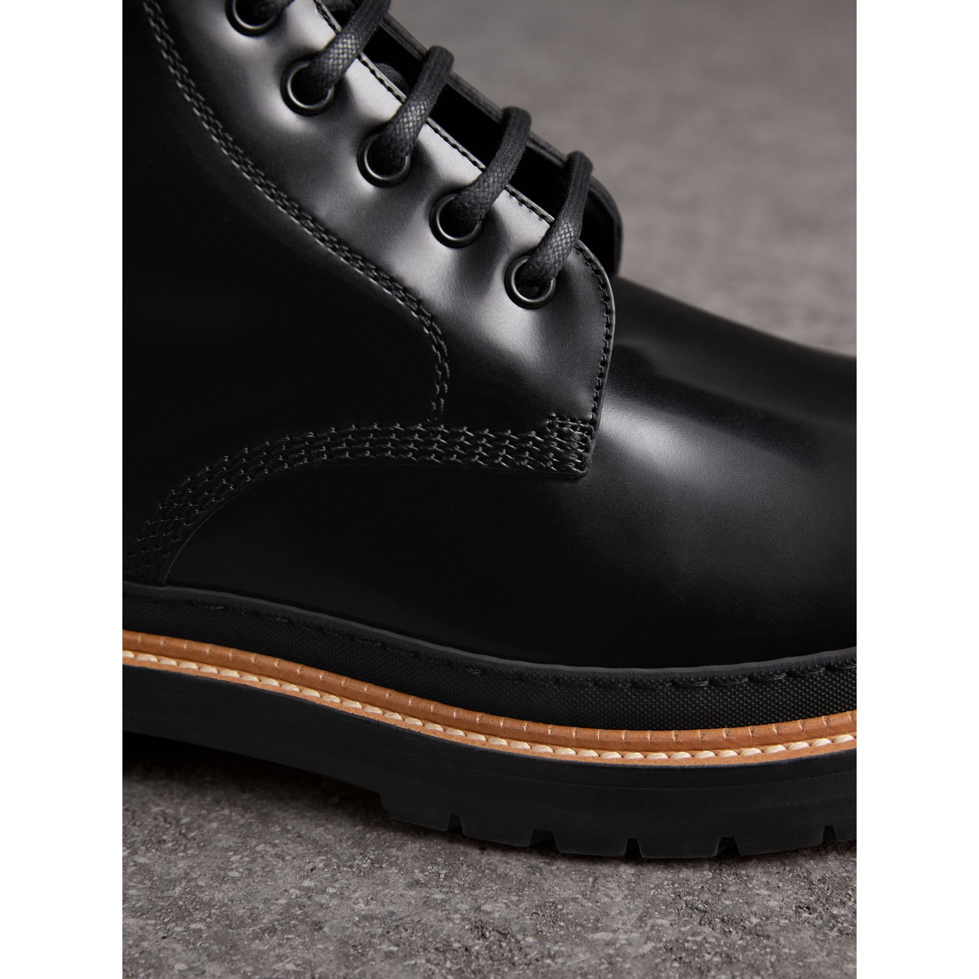 Lace-up Polished Leather Boots in Black - Men | Burberry - gallery image 2
