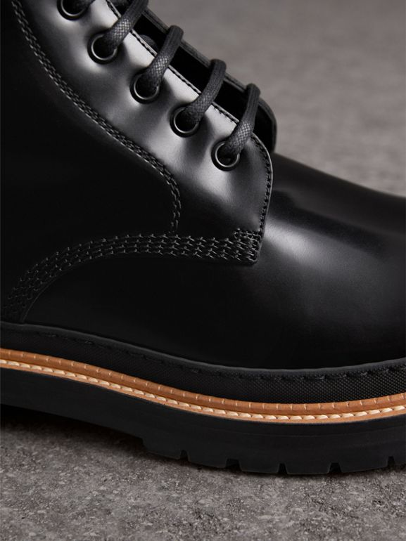 Lace-up Polished Leather Boots in Black - Men | Burberry - cell image 1