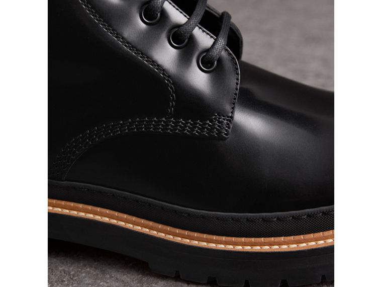 Lace-up Polished Leather Boots in Black - Men | Burberry United States - cell image 1