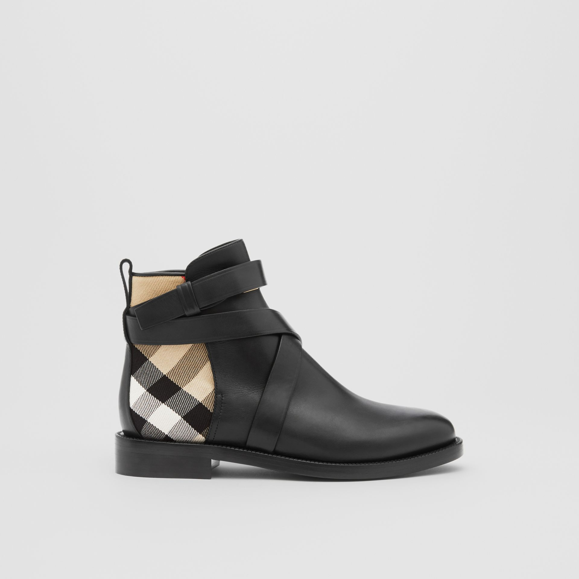 House Check and Leather Ankle Boots in Black/archive Beige - Women | Burberry United Kingdom - gallery image 4