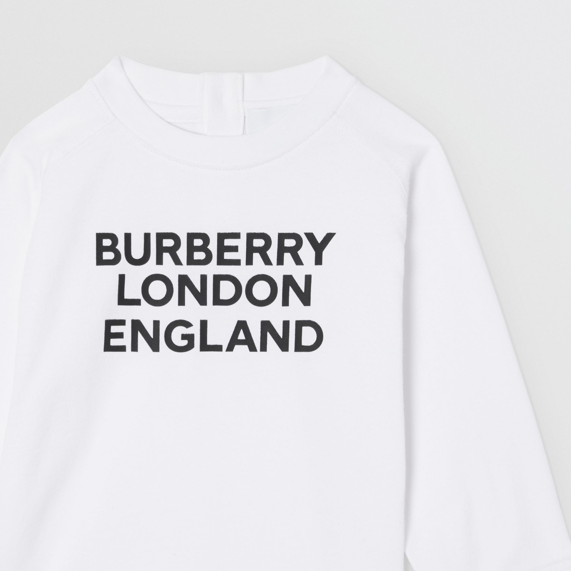 Long-sleeve Logo Print Cotton Top in White - Children | Burberry United Kingdom - gallery image 5