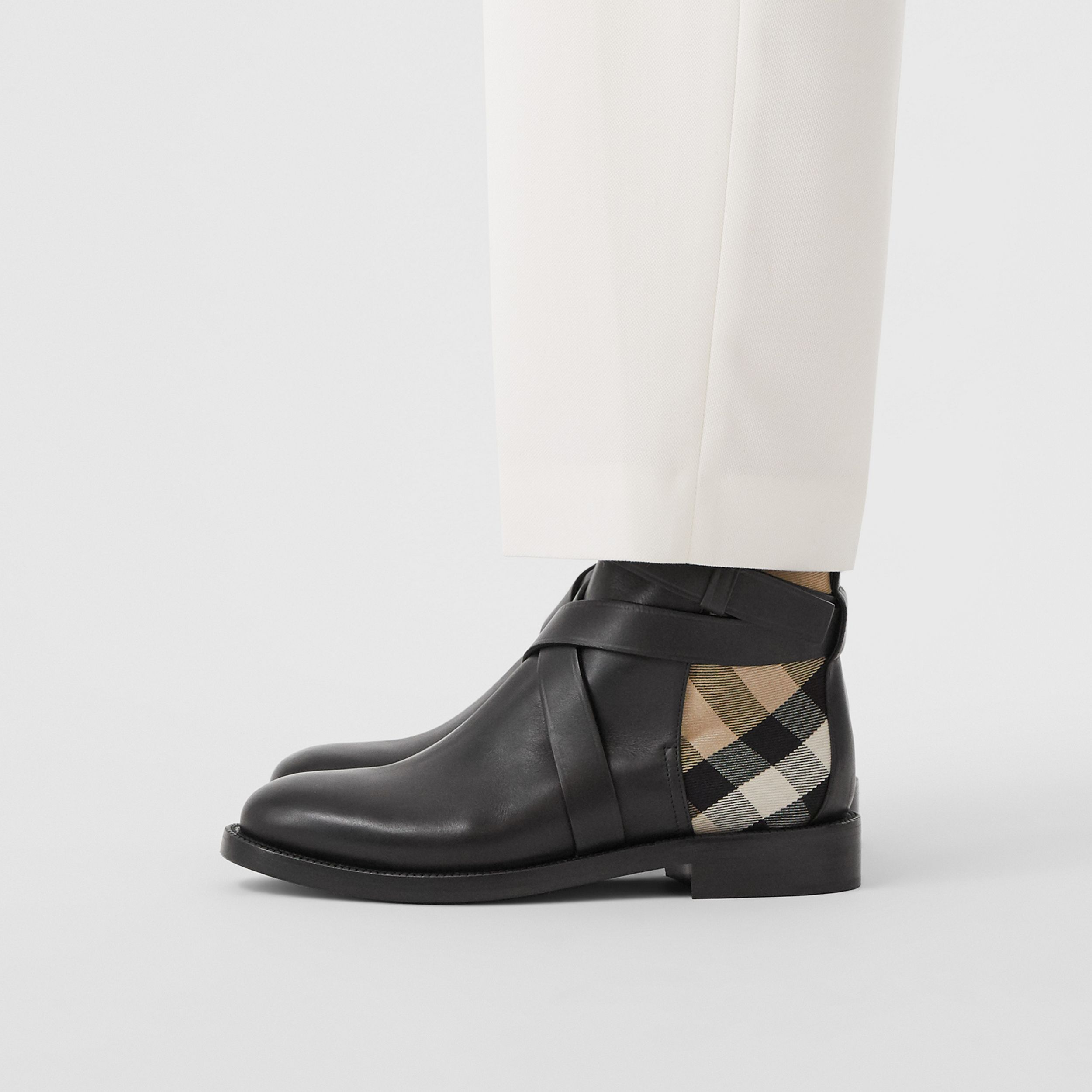 House Check and Leather Ankle Boots in Black/archive Beige - Women | Burberry - 3