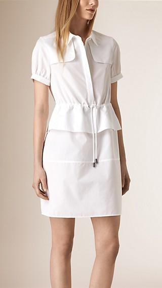 Peplum Detail Cotton Shirt Dress