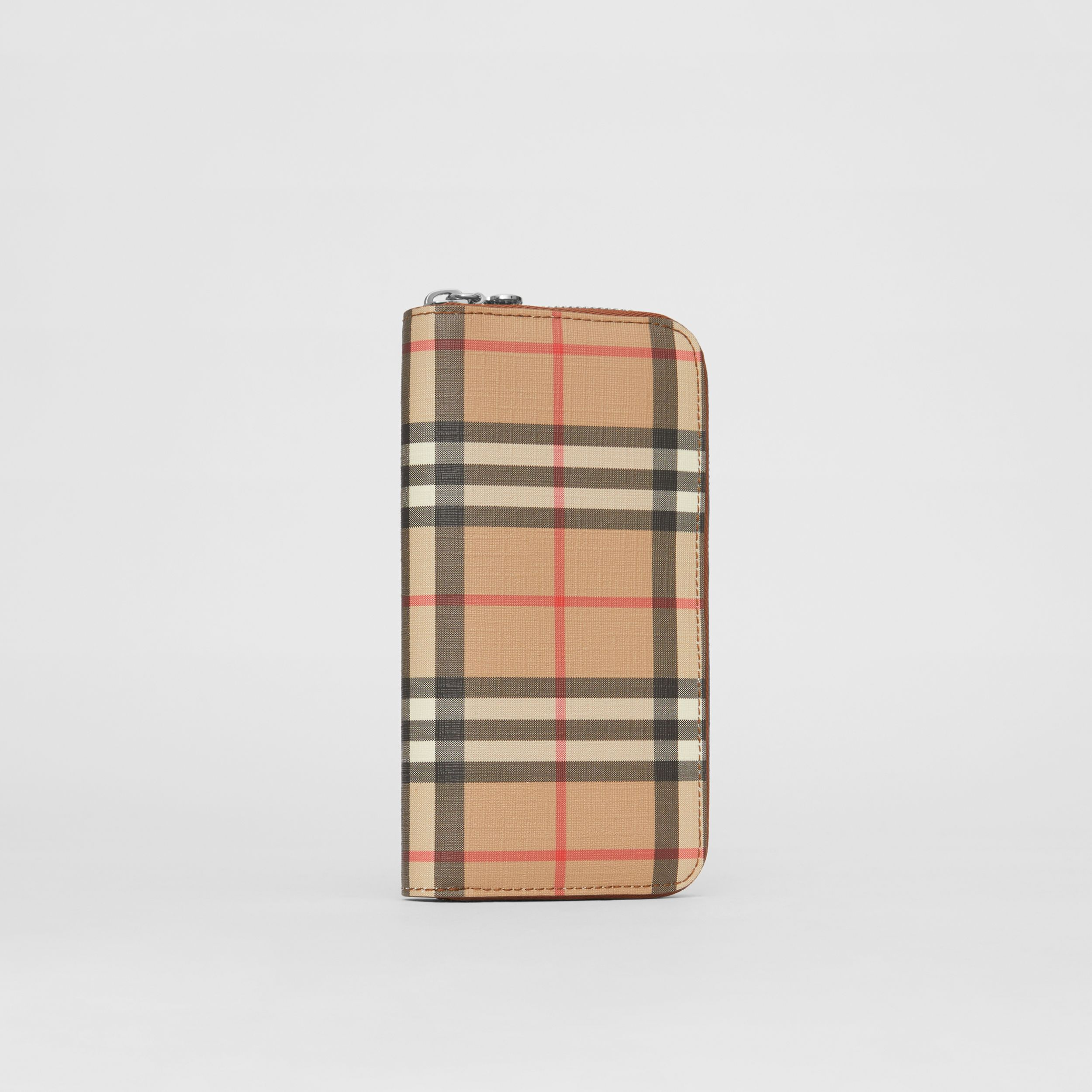Vintage Check and Leather Ziparound Wallet in Malt Brown - Women | Burberry - 4