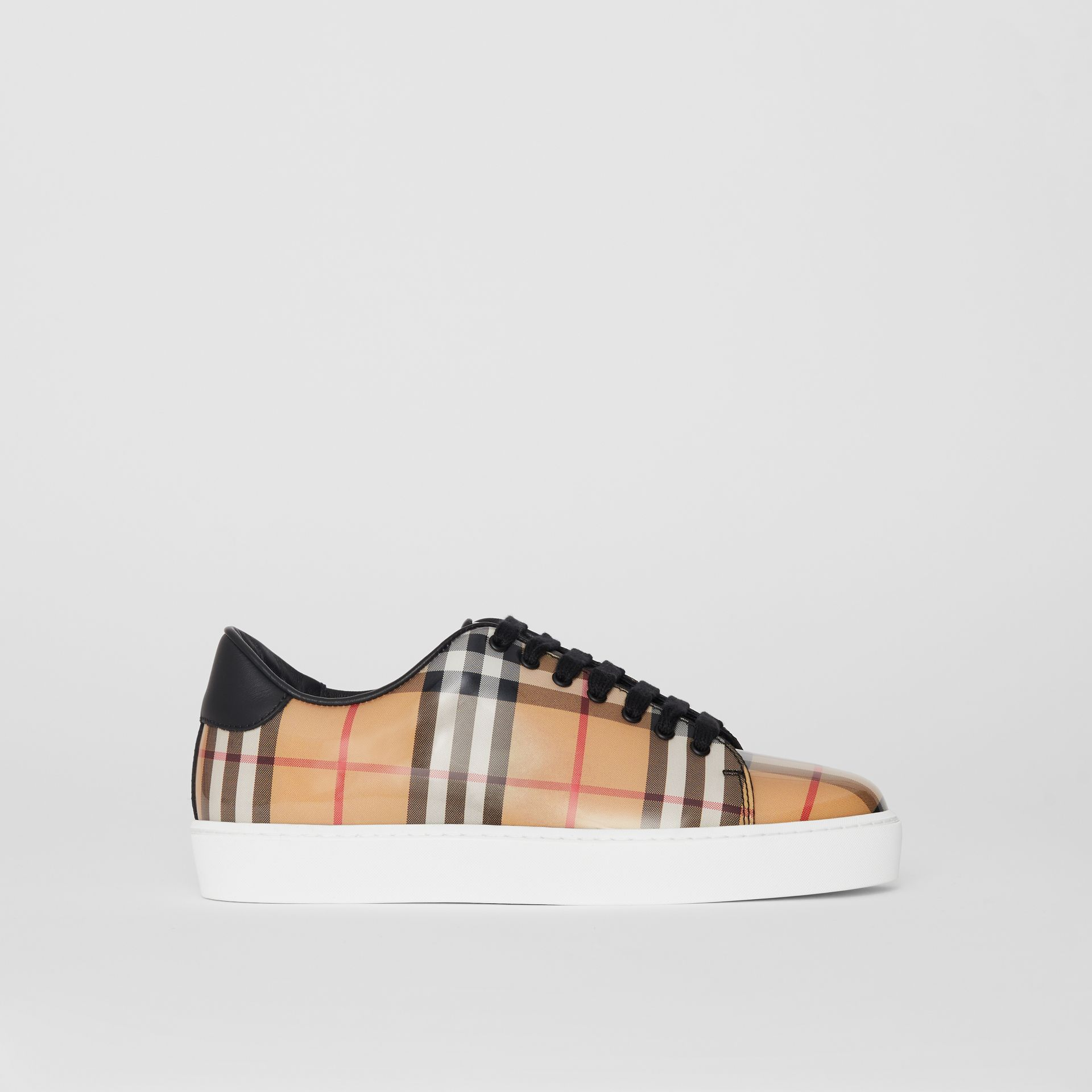 Vintage Check and Leather Sneakers in Antique Yellow - Women | Burberry - gallery image 5