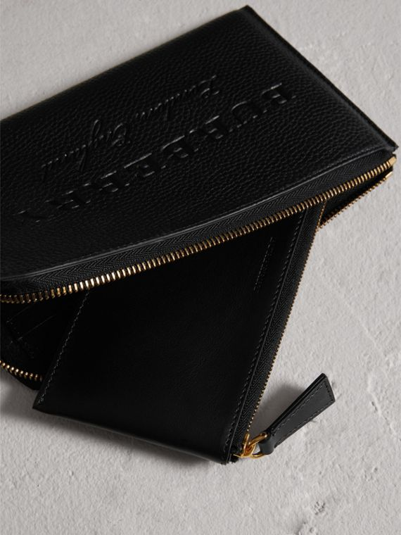 Embossed Leather Travel Wallet in Black | Burberry Australia - cell image 3
