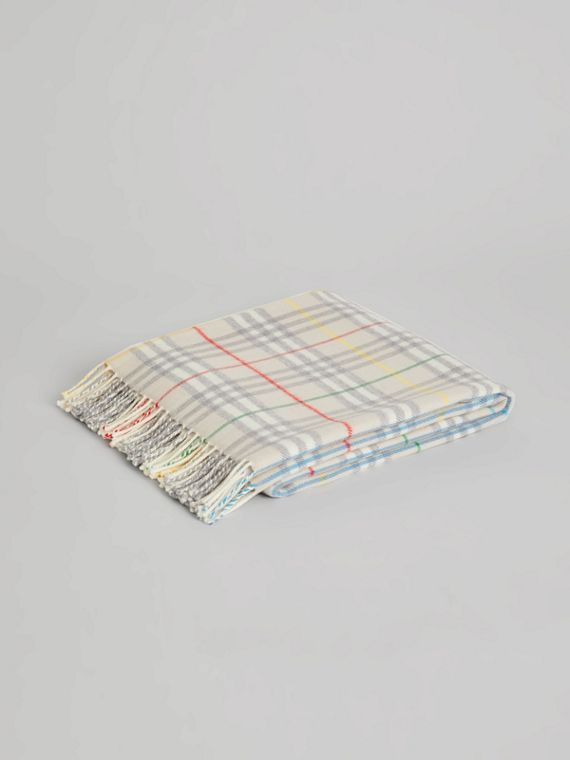 Check Merino Wool Baby Blanket in Multicolour