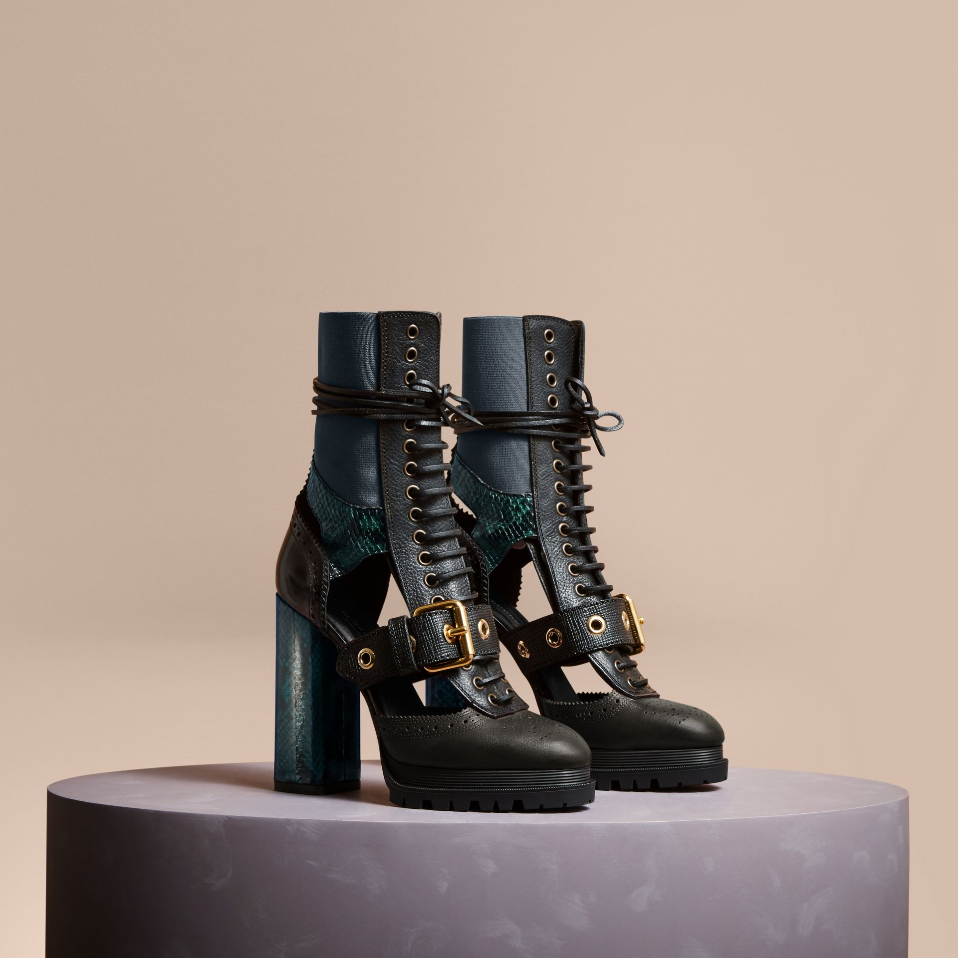 Leather and Snakeskin Cut-out Platform Boots Teal Green - gallery image 1