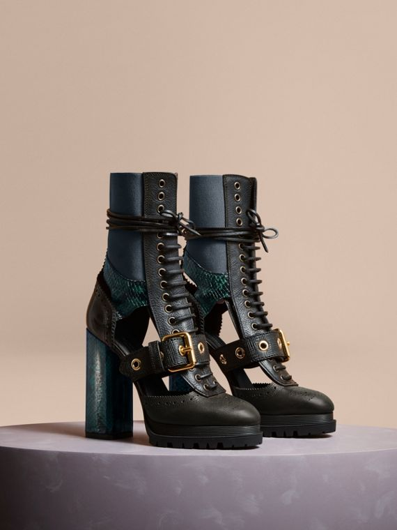 Leather and Snakeskin Cut-out Platform Boots Teal Green