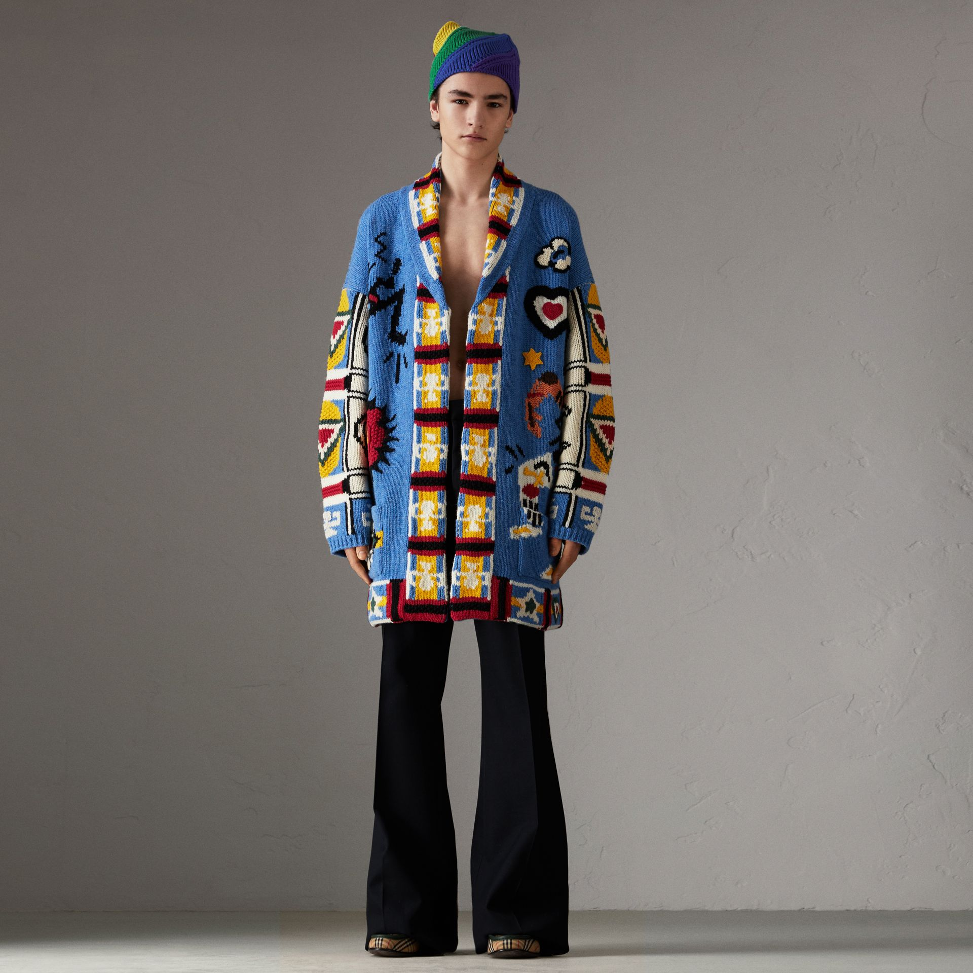 Wool Graphic Intarsia Cardigan in Sky Blue | Burberry - gallery image 0