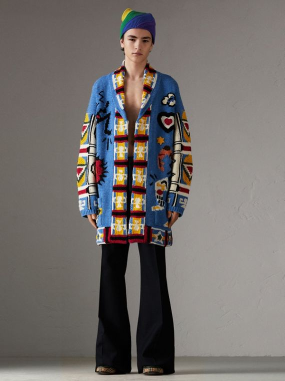 Wool Graphic Intarsia Cardigan in Sky Blue