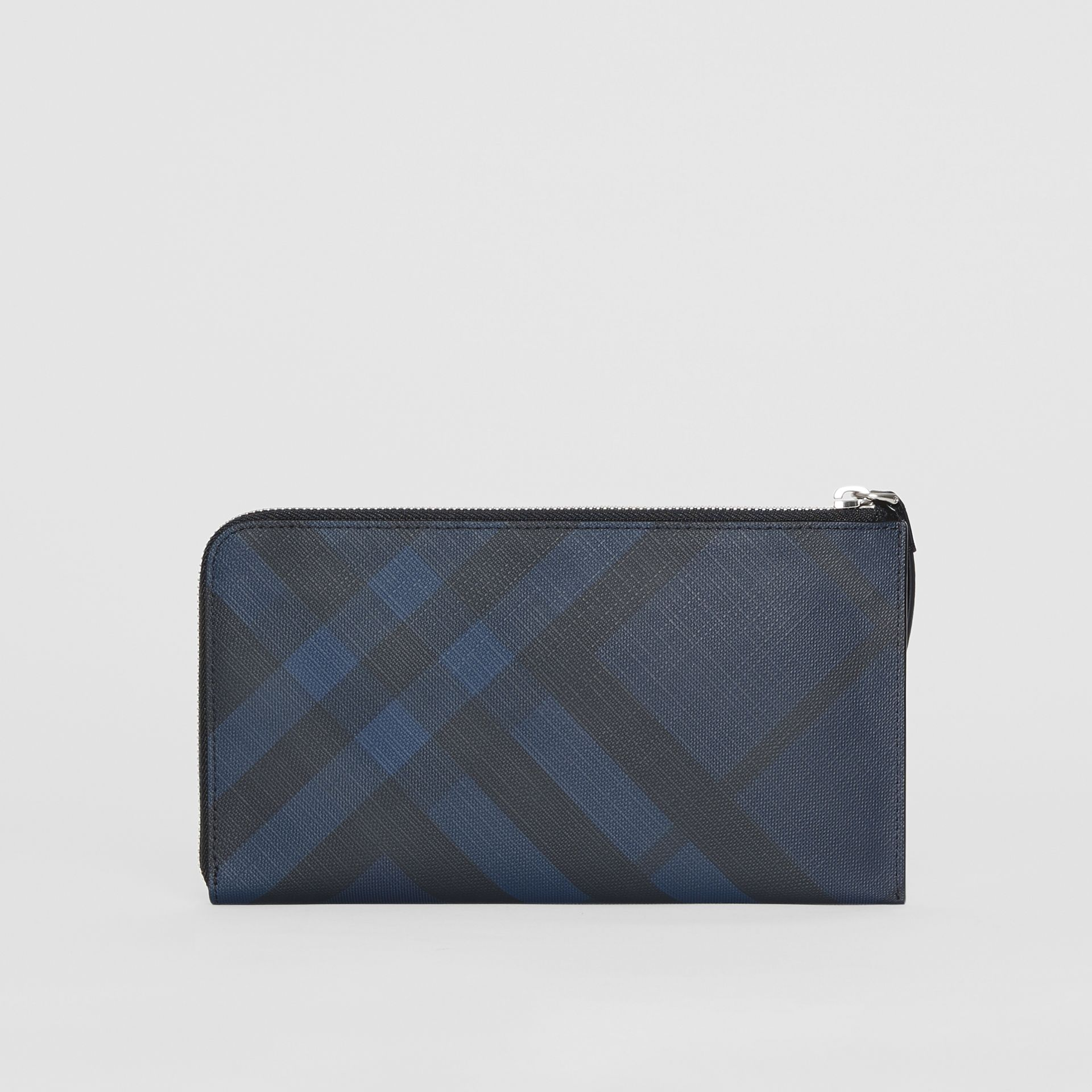 London Check and Leather Travel Wallet in Navy/black - Men | Burberry Hong Kong S.A.R - gallery image 7