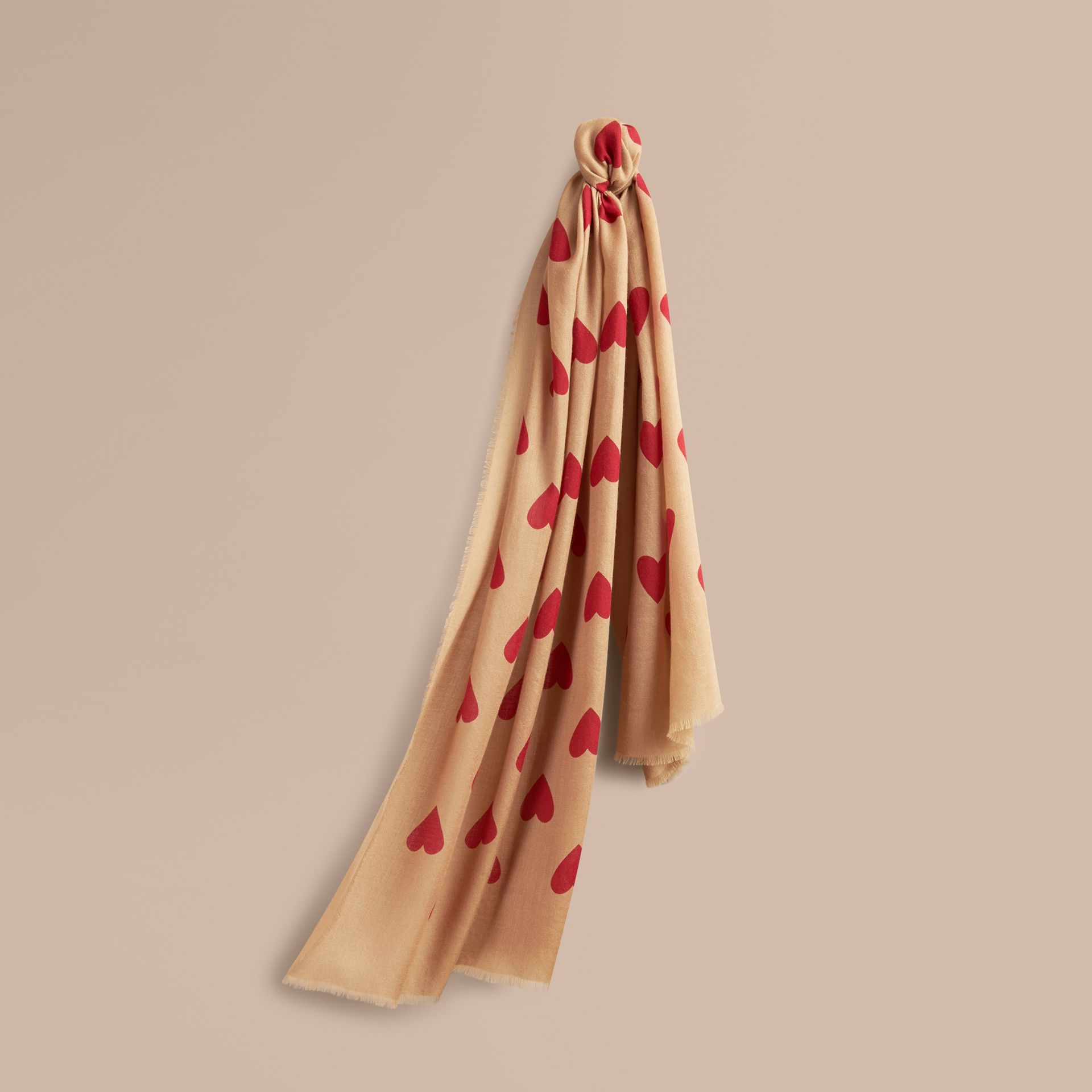 Camel/parade red The Lightweight Cashmere Scarf in Heart Print Camel/parade Red - gallery image 6
