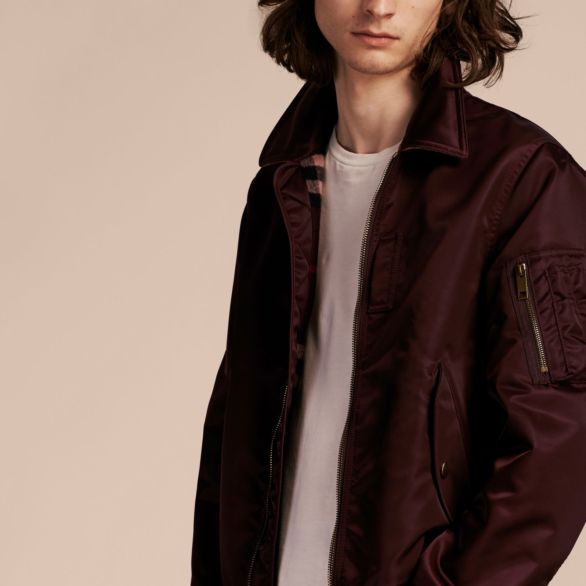 Satin Bomber Jacket with Check Undercollar in Dark Elderberry - gallery image 6