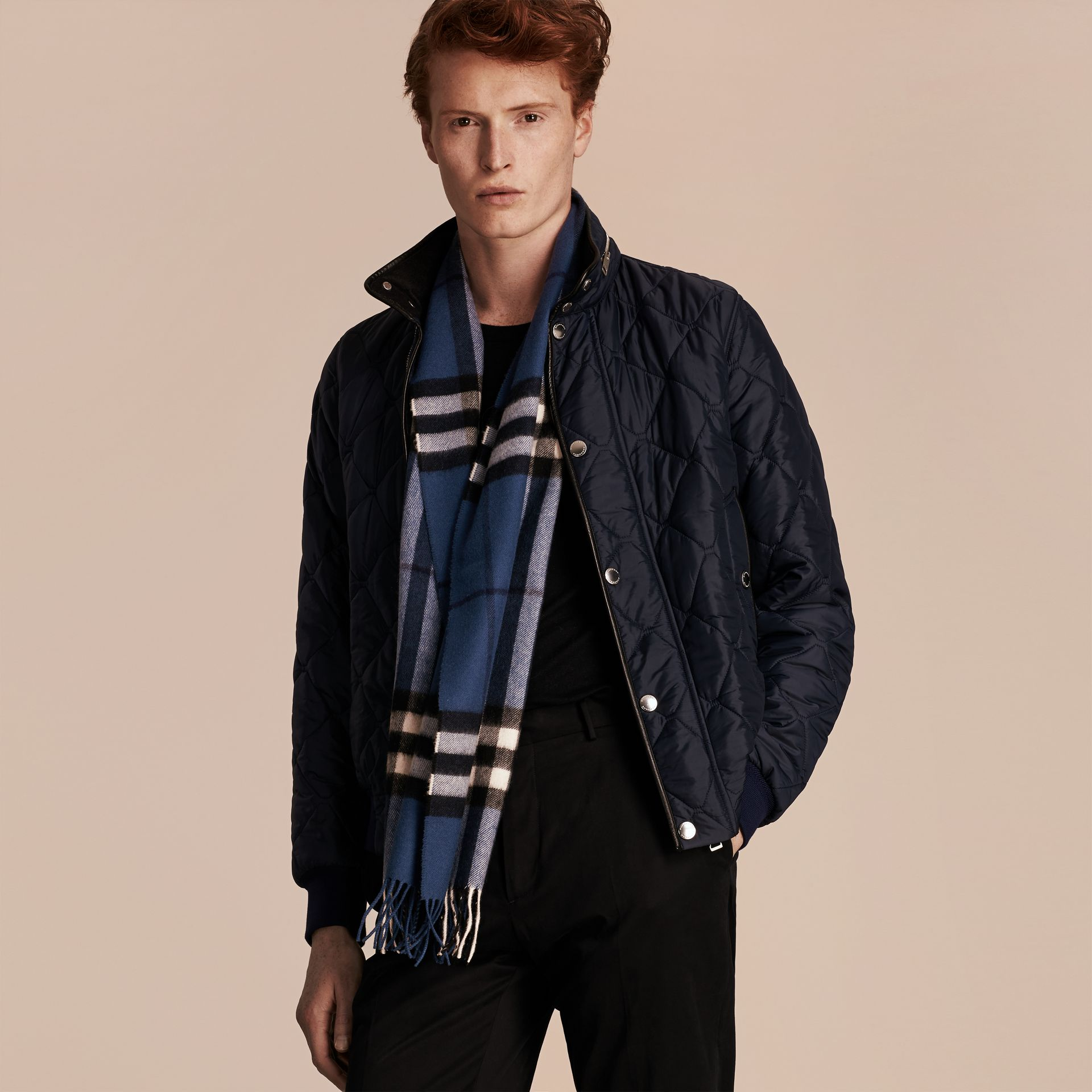 Cadet blue The Classic Cashmere Scarf in Check Cadet Blue - gallery image 4