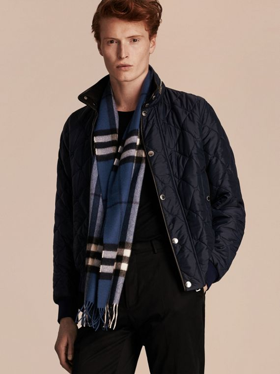 Cadet blue The Classic Cashmere Scarf in Check Cadet Blue - cell image 3
