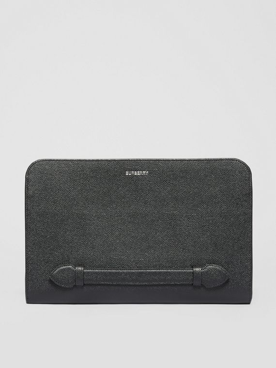 Grainy Leather Ziparound Pouch in Black