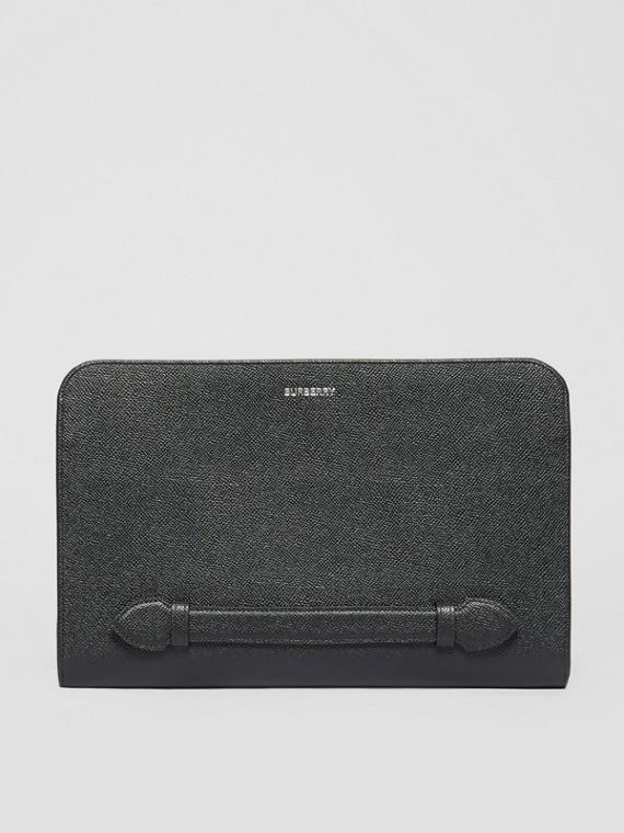 Bolsa pouch de couro granulado com zíper (Preto)