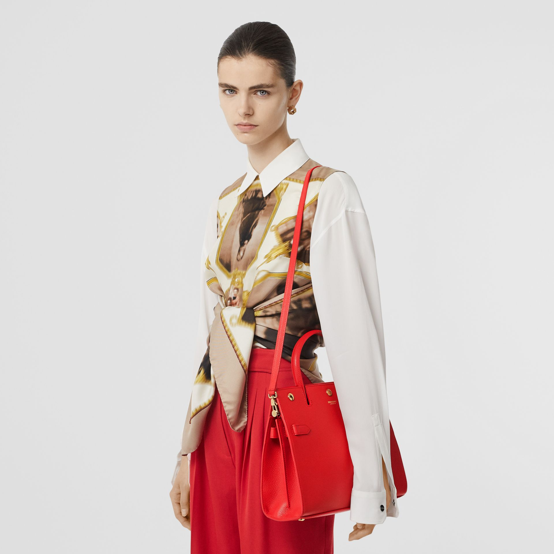 Small Leather Title Bag in Bright Red - Women | Burberry Canada - gallery image 2