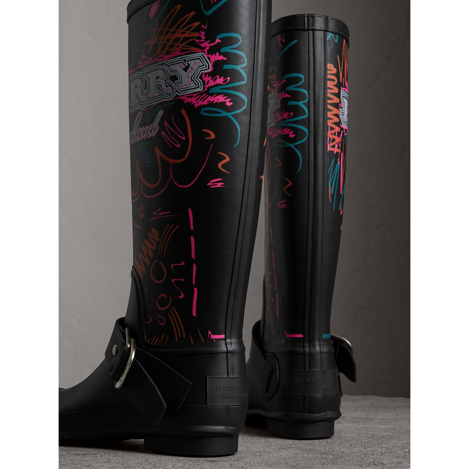 Doodle Print Rubber Rain Boots in Black - Women | Burberry - gallery image 3