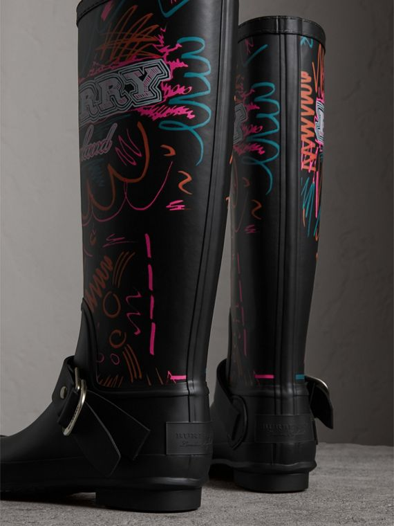 Doodle Print Rubber Rain Boots in Black - Women | Burberry United States - cell image 3