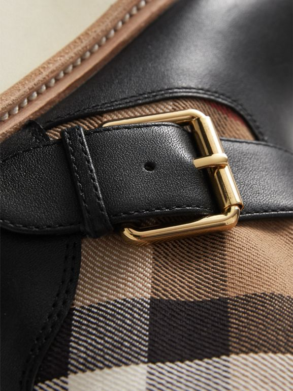 House Check and Leather Weather Boots in Classic | Burberry - cell image 1