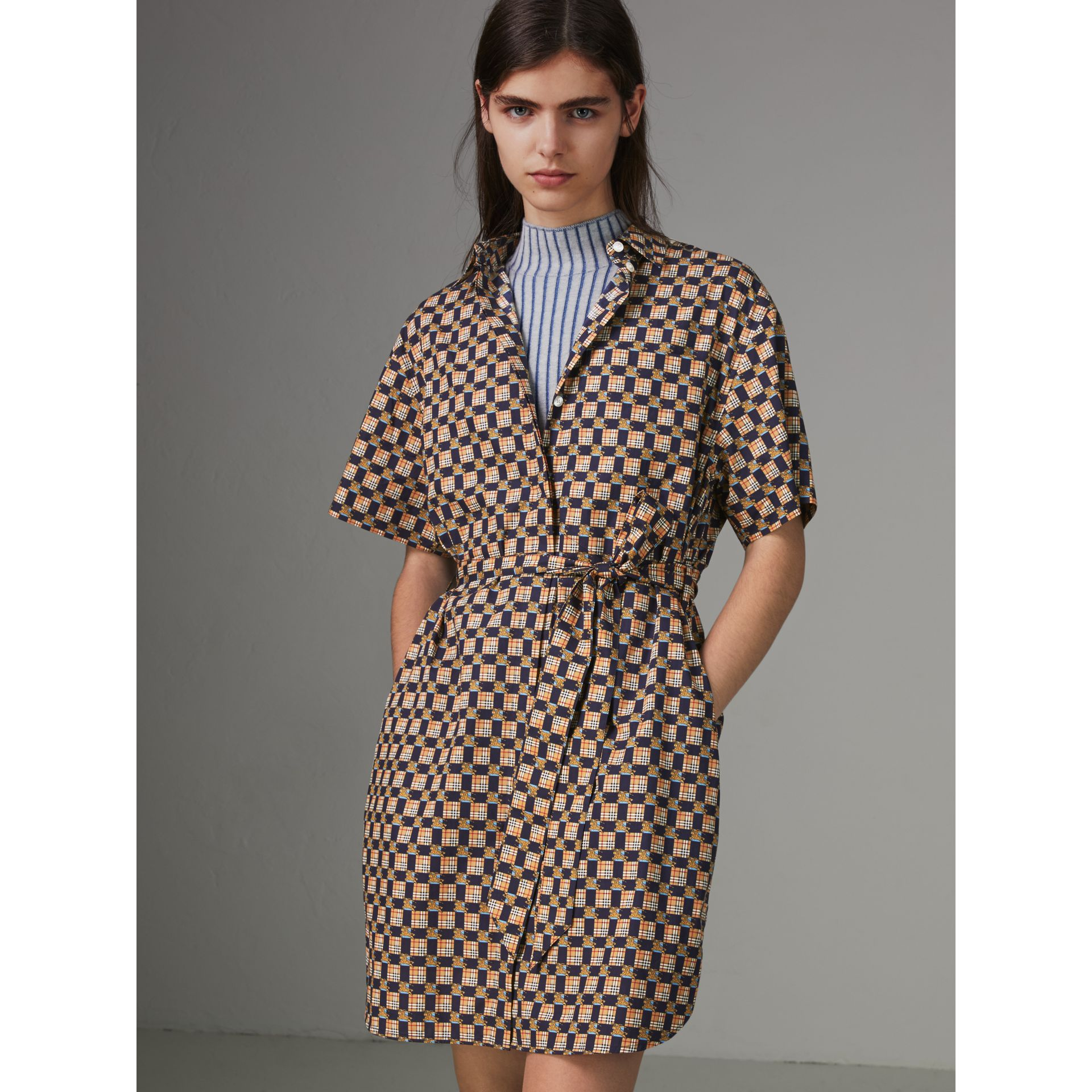 Tiled Archive Print Cotton Shirt Dress in Navy - Women | Burberry - gallery image 4