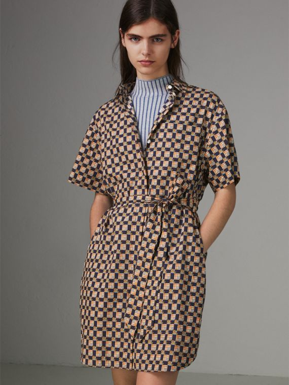 Tiled Archive Print Cotton Shirt Dress in Navy