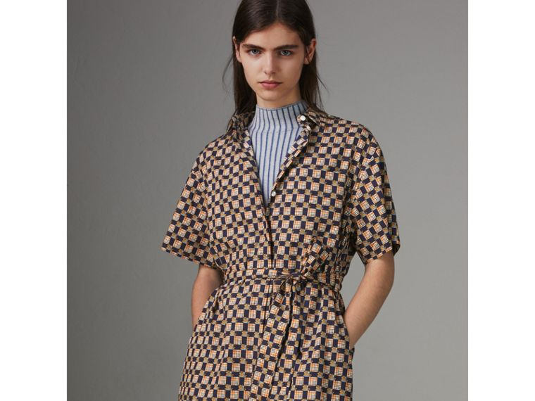 Tiled Archive Print Cotton Shirt Dress in Navy - Women | Burberry - cell image 4