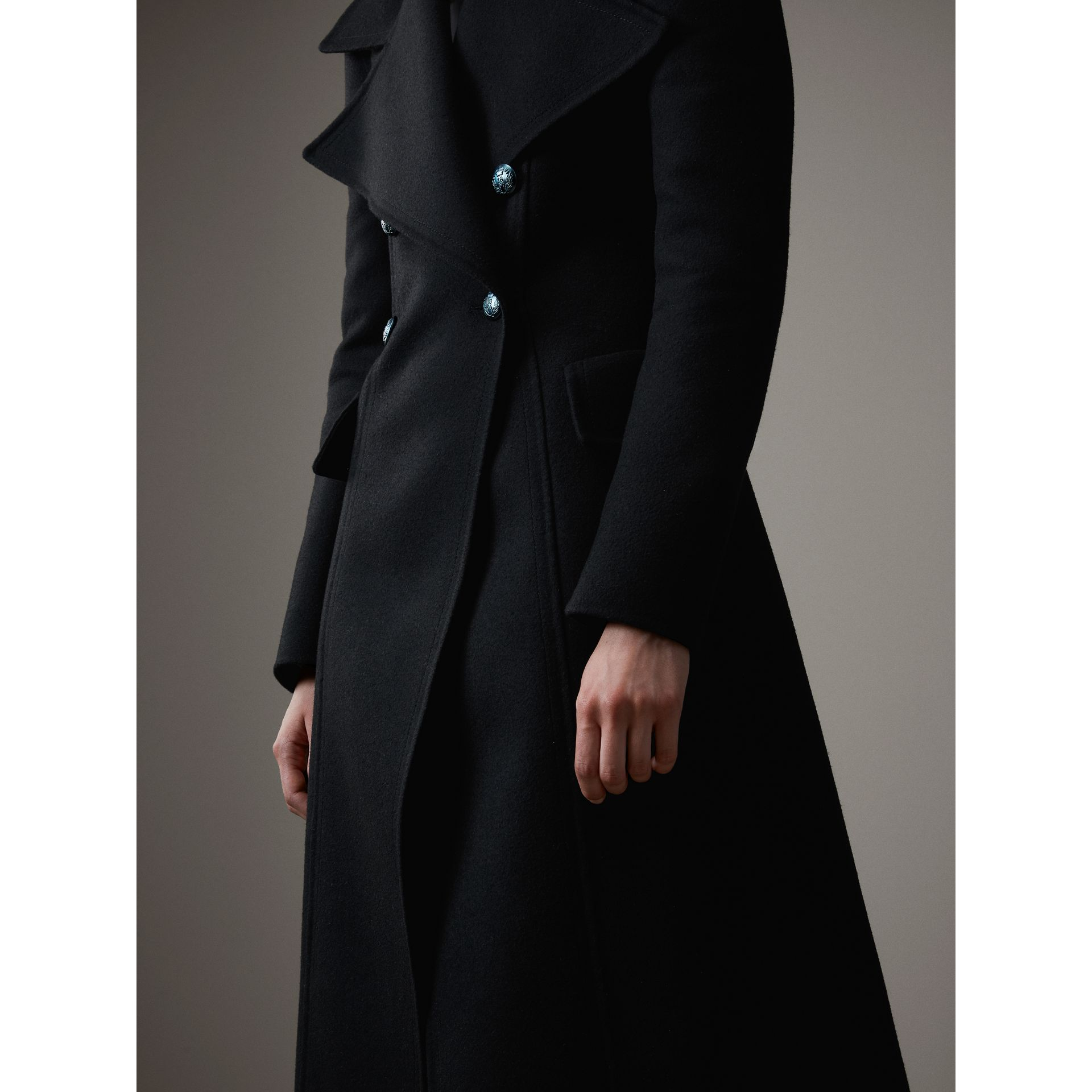 Felted Wool Full-length Tailored Coat in Black - Women | Burberry - gallery image 6
