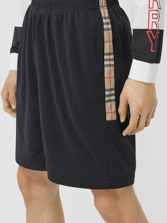 Vintage Check Trim Technical Twill Shorts in Black - Men   Burberry - cell image 1