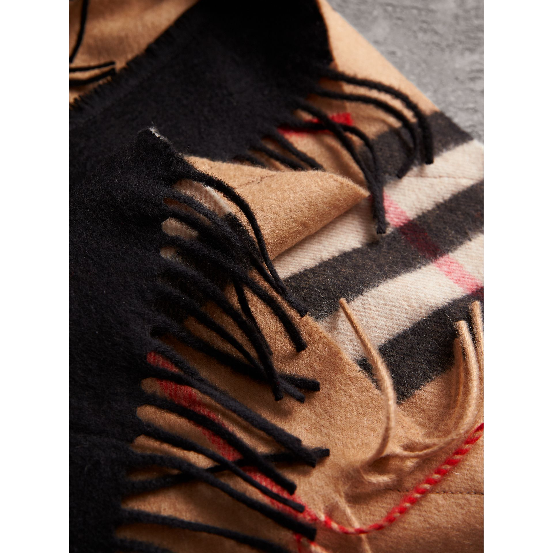 The Classic Check Cashmere Scarf with Fringing in Camel/black | Burberry United Kingdom - gallery image 1