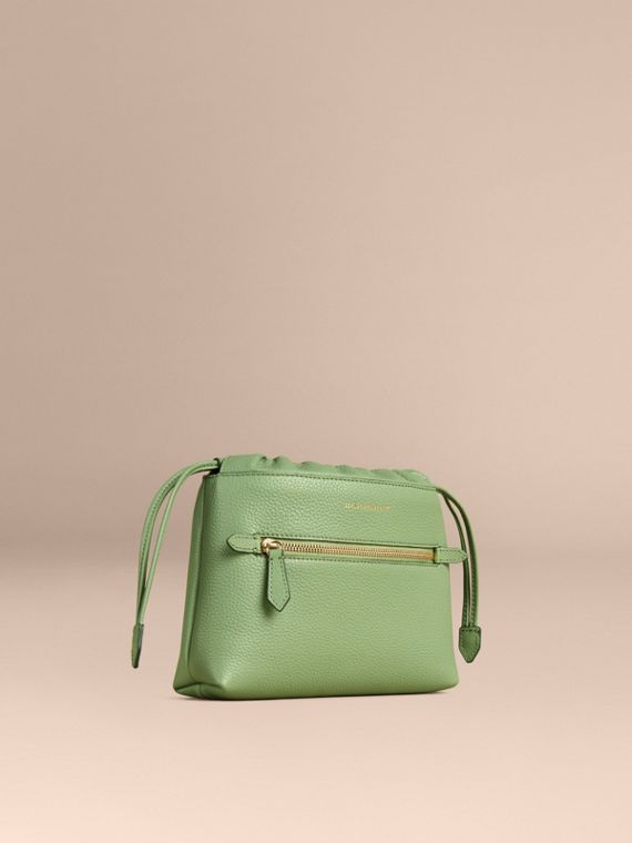 The Mini Crush In Grainy Leather Pistachio Green