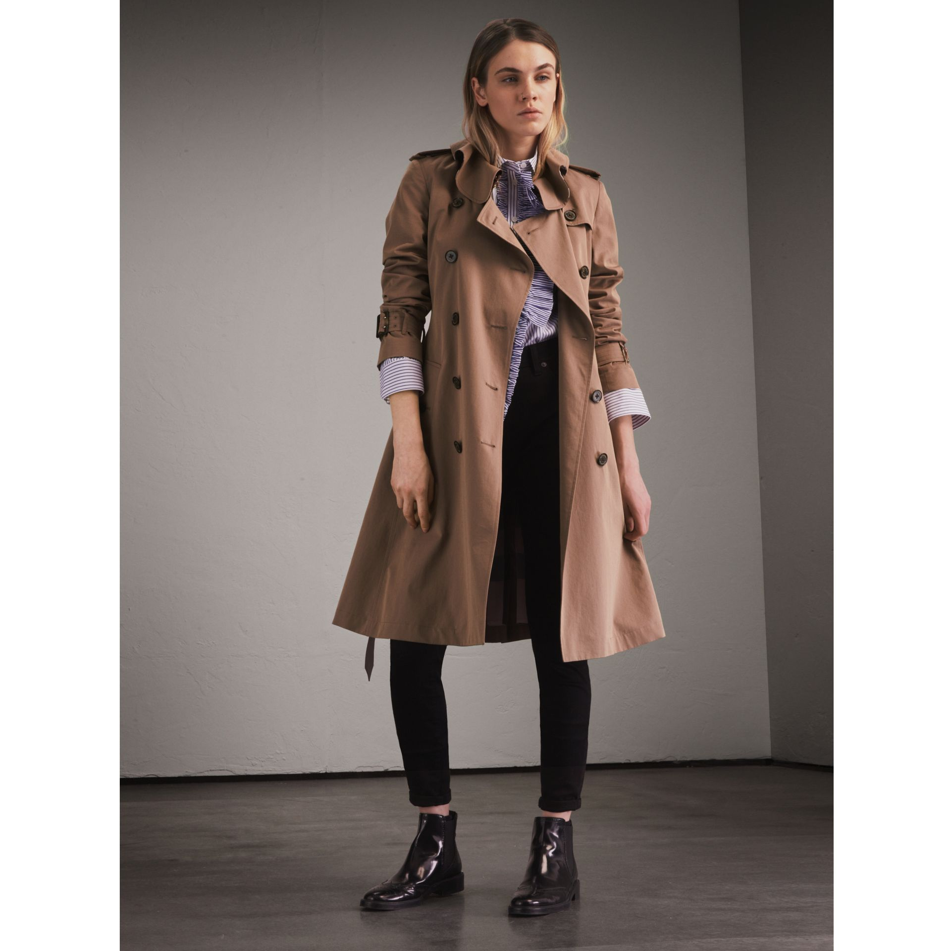 Tropical Gabardine Trench Coat with Ruffle Detail Taupe - gallery image 1