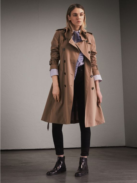 Tropical Gabardine Trench Coat with Ruffle Detail in Taupe