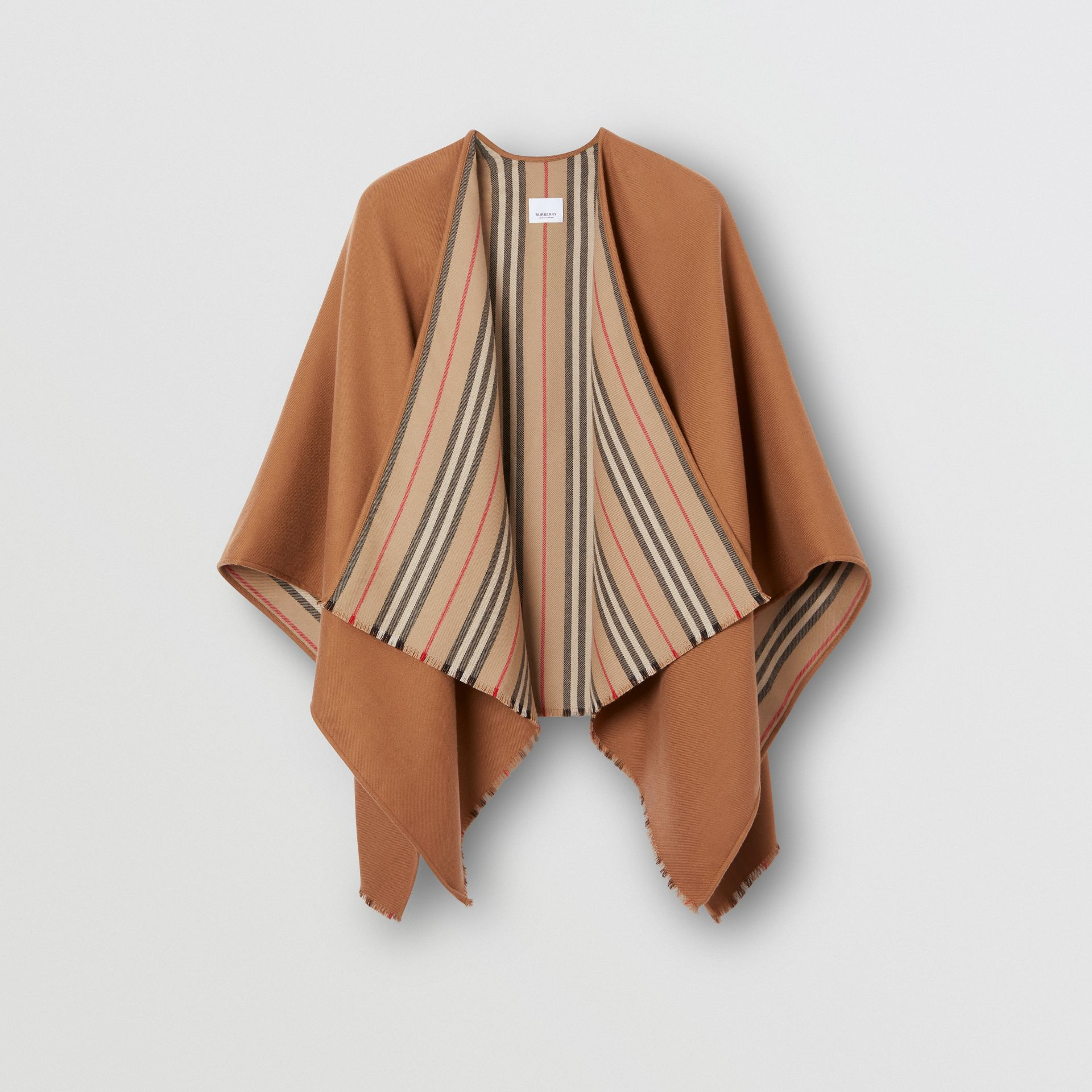 Icon Stripe Detail Wool Cape in Flaxseed - Women | Burberry - gallery image 3