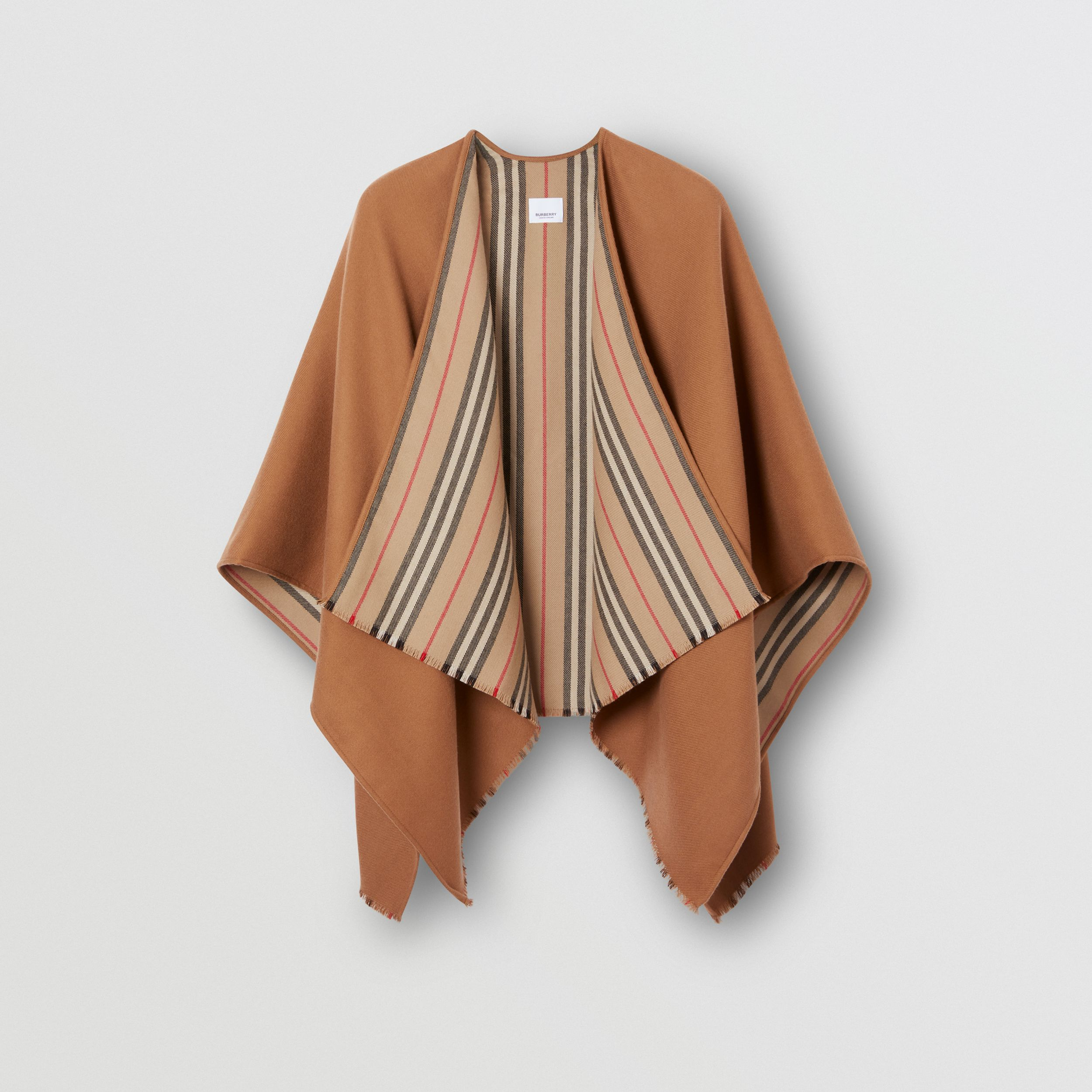 Icon Stripe Detail Wool Cape in Flaxseed - Women | Burberry - 4