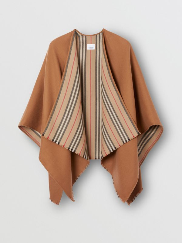 Icon Stripe Detail Wool Cape in Flaxseed - Women | Burberry - cell image 3