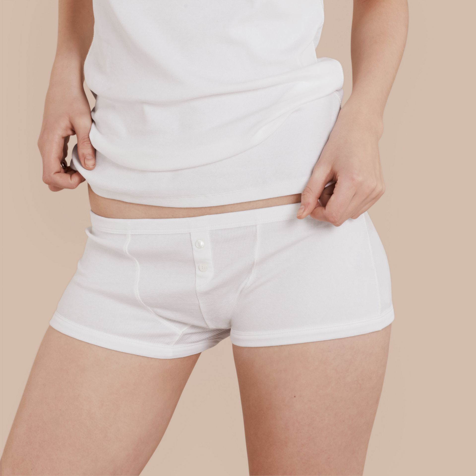 White Stretch Cotton Lyocell Boxer Briefs White - gallery image 1