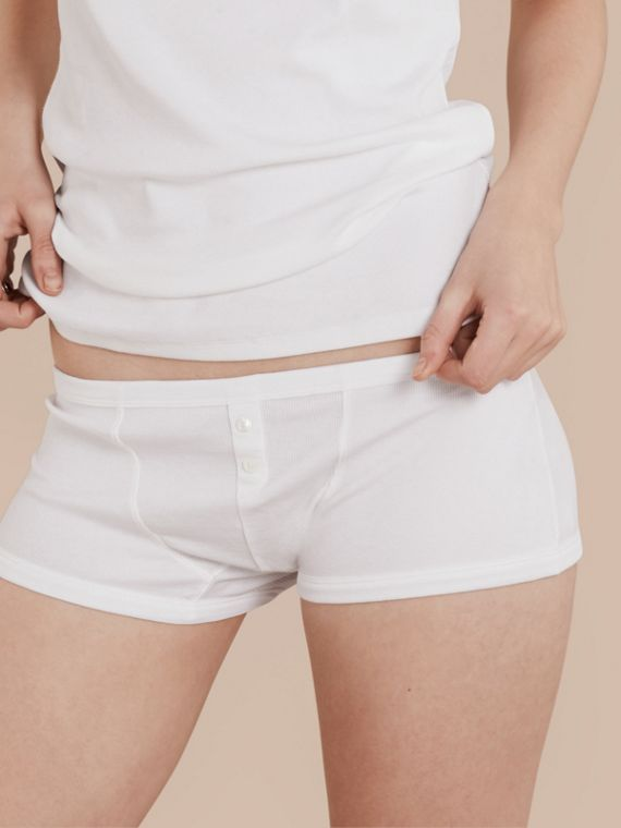 Stretch Cotton Lyocell Boxer Briefs White