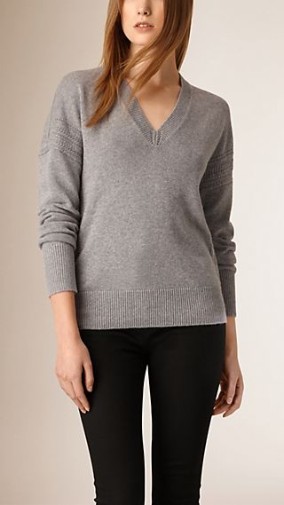 Deep V-Neck Cashmere Cotton Sweater