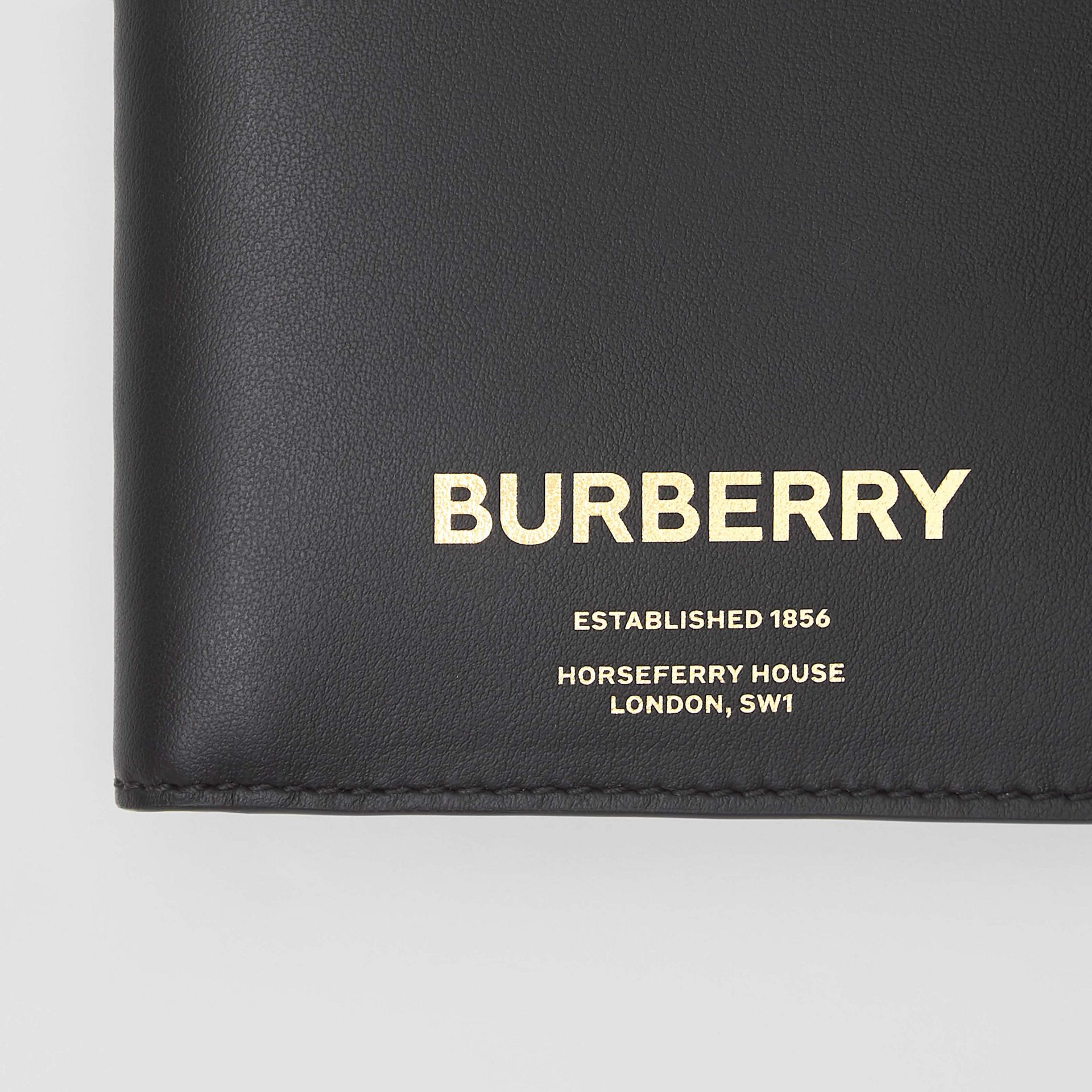 Horseferry Print Leather International Bifold Wallet in Black - Men | Burberry Australia - gallery image 1